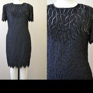 Vintage Black Silk Beaded Dress Laurence Kazar